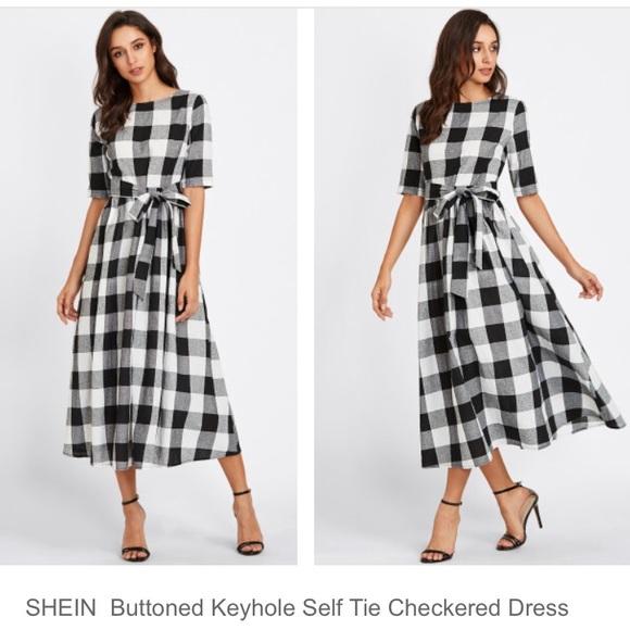 a9347fddf5 SHEIN Dresses | Black And White Gingham Midi Dress Nwot | Poshmark